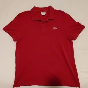 Lacoste Slim Fit 3-Button Polo Shirt (Dark Red)